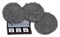 253-271 AD Roman Bronze South Petherton Hoard NGC AU 3pc Set