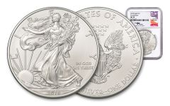 2018 1 Dollar 1-oz Silver Eagle NGC MS70 First Releases Mercanti Signed