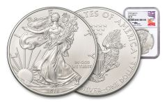 2018 1 Dollar 1-oz Silver Eagle NGC MS70 Early Releases Mercanti Signed