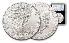 2018 1 Dollar 1-oz Silver Eagle NGC MS70 First Releases - Black