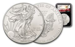 2018 1 Dollar 1-oz Silver Eagle NGC MS69 First Releases Eagle Label - Black