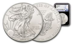 2018 1 Dollar 1-oz Silver Eagle NGC MS70 Early Releases - Black