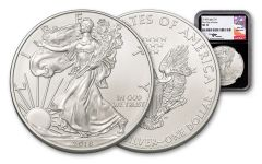 2018 1 Dollar 1-oz Silver Eagle NGC MS70 First Day Of Issue Mercanti Signed - Black