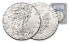 2018 1 Dollar 1-oz Silver Eagle PCGS MS69 First Strike Flag Label