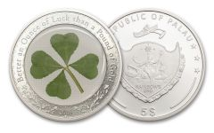 2018 Palau 5 Dollar 1-oz Silver Four Leaf Clover Proof