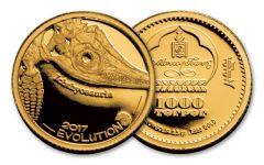 2017 Mongolia 1/2 Gram Gold Evolution Ichthyosaur Proof