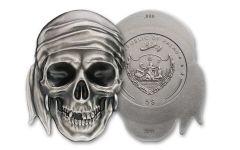 2017 Palau 5 Dollar 1-oz Silver Pirate Skull Brilliant Uncirculated