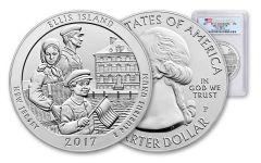 2017 25 Cent 5-oz Silver America The Beautiful Ellis Island PCGS MS69 DMPL- First Strike