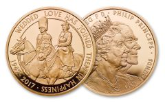 2017 Great Britain 5 Pound Gold 70th Wedding Anniversary Proof