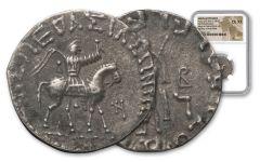 Ancient Azes Silver Tetradrachm NGC Choice - XF