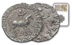 Ancient Azes Silver Tetradrachm NGC AU