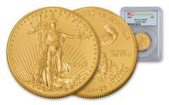 2018 25 Dollar 1/2-oz Gold Eagle PCGS MS70 First Strike Flag Label