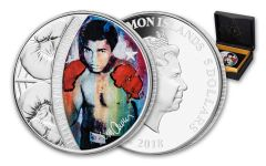 2018 $5 1-oz Silver Sid Mauer Mohammad Ali Colorized Proof