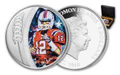 2018 Solomon Islands 5 Dollar 1-oz Silver Tom Brady Colored Proof