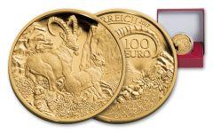 2017 Austria 100 Euro 1/2-oz Gold Alpine Ibex Proof