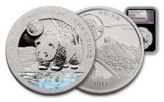 2017 China 1-oz Silver Moon Panda NGC Gem Proof- First Releases