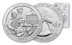2017-P 25 Cent 5-oz Silver Ellis Island America The Beautiful PCGS SP70 First Strike Mercanti Signed