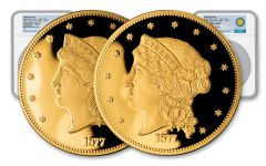 1877 Smithsonian 1/2-oz Gold Half Union Set NGC PF70UCAM 2pc