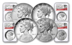 2017 1-oz Silver American Liberty Medals NGC MS-PF-SP70- Early Releases- 225th- 4pc Set