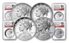 2017 1-oz Silver American Liberty Medals NGC MS-PF-SP70 - First Releases- 225th - 4pc Set