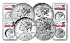 2017 1-oz Silver American Liberty Medals NGC MS-PF-SP69 - Early Release- 225th - 4pc Set