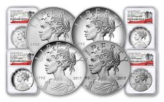 2017 1-oz Silver American Liberty Medals NGC MS-PF-SP69 - First Releases- 225th - 4pc Set