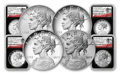 2017 1-oz Silver American Liberty Medals NGC MS-PF-SP69 - First Releases- 225th - 4pc Set - BC
