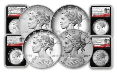 2017 1-oz Silver American Liberty Medals NGC MS-PF-SP70 - Early Release- 225th - 4pc Set - BC
