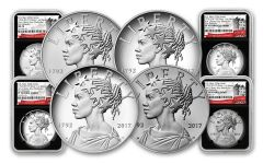 2017 1-oz Silver American Liberty Medals NGC MS-PF-SP70 - First Releases- 225th - 4pc Set - BC