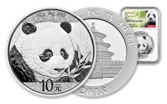 2018 China 30 Gram Silver Panda NGC MS70 First Day Of Issue - White