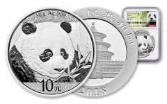 2018 China 30 Gram Silver Panda NGC MS69 First Release - White