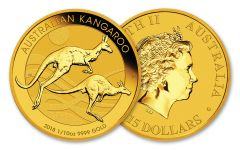 2018 Australia 15 Dollar 1/10-oz Gold Kangaroo Brilliant Uncirculated