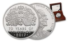 2017 Great Britain 5 Pound Platinum 70th Wedding Anniversary Piedfort NGC PF70UCAM