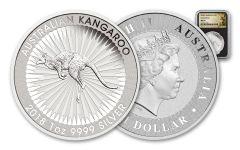 2018 Australia 1 Dollar 1-oz Silver Kangaroo NGC MS69 - Black Core