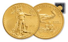 2018 5 Dollar 1/10-oz Gold Eagle BU With Magnified Holder