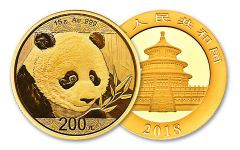 2018 China 15 Gram Gold Panda Brilliant Uncirculated