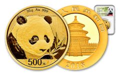 2018 China 30 Gram Gold Panda NGC MS69 First Releases - White