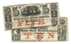 1835-1861 5-10 Dollar South Carolina Note F-VF 2pc Set