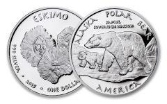 2015 Alaska 1 Dollar 1-oz Silver Polar Bear Eskimo Proof