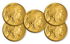 2018 50 Dollar 1-oz Gold Buffalo BU Lot of 5