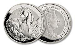 2018 British Virgin Islands 1 Dollar 1-oz Silver Pegasus Frosted Reverse Uncirculated