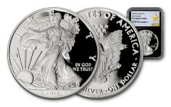 2018-W 1 Dollar 1-oz Silver Eagle NGC PF69UCAM Early Releases Gold Star Label - Black