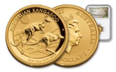 2018 Australia 25 Dollar 1/4-oz Gold Kangaroo NGC MS70 First Releases