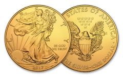 2017 1 Dollar 1-oz Silver Eagle BU Gilded In 24kt Gold