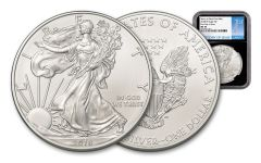 2018-W 1 Dollar 1-oz Silver Eagle NGC MS70 First Day Of Issue - Black