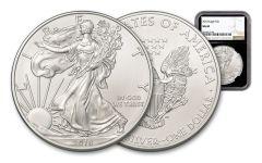 2018 1 Dollar 1-oz Silver Eagle NGC MS69 - Black