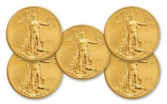 2018 5 Dollar 1/10-oz Gold Eagle BU Lot of 5