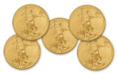 2018 50 Dollar 1-oz Gold Eagle BU Lot of 5