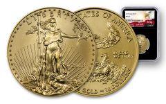 2018 25 Dollar 1/2-oz Gold Eagle NGC MS70 Eagle Label - Black