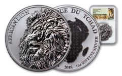 2018 Chad 1-oz Silver African Lion NGC MS70 First Day Of Issue